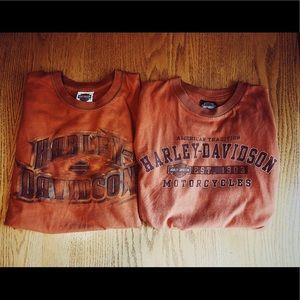 Two Harley Davidson Large Tshirts!